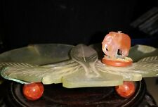 Antiq CHINESE Celadon JADE peach & leaf design w/ball feet agate beads/elephant