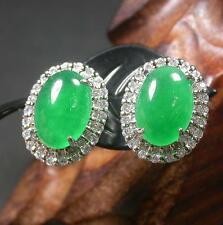 Gold Plate Icy Green JADE Earrings Earring Cabochon Diamond Imitation 272143 US