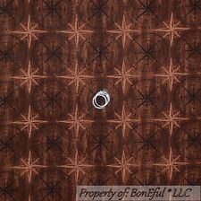 BonEful Fabric FQ Cotton Quilt Brown Barn Pine Wood Texture Cabin STAR Nautical