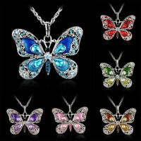 Women Rhinestone Crystal Butterfly Pendant Necklace Sweater Silver Chain Gifts