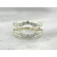1.2 Ct Round Cut Diamond Enhancer Engagement Wrap Ring Solid 14k White Gold Over