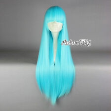 Lolita Aqua Blue Long 80CM Straight Fashion Cosplay Full Hair Wig With Bangs