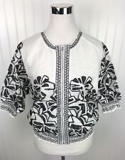 Chicos Embroidered Smocked Jacket Womens 1 PS Linen 3/4 Slv White Black Zip New