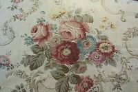 "VINTAGE GLAZED CHINTZ,CABBAGE ROSE COUNTRY COTTAGE ENGLISH GARDEN,36"" X 16 YDS."