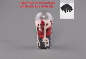 SMOOTHIE PET CUPS AND DOMED LIDS Slush Milkshake ICED COFEE Disposable 16oz 12oz