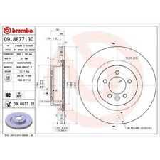 BREMBO 2x Brake Discs Interior Vented Coated 09.8877.31