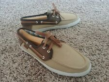 Excellent Condition Rare Vans Men's Size 7 Surf Siders Canvas Leather Loafers