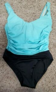 Miraclesuit Teal And Black Underwire Swimsuit Size 10