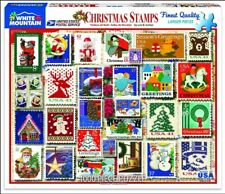 Christmas USPS Postal Stamps Collage 1000 Piece Jigsaw Puzzle by White Mountain