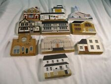 Mixed Lot Of 10 The Cat's Meow Village Wood Buildings, Signed