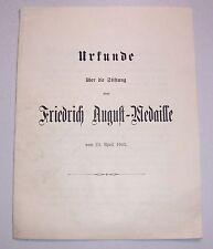 Urkunde über die Stiftung einer Friedrich August Medaille 1905 / 1916 !