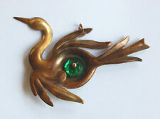 VINTAGE RAW BRASS BIRD SWAN IN FLIGHT METAL STAMPING PENDANT w/EMERALD GLASS