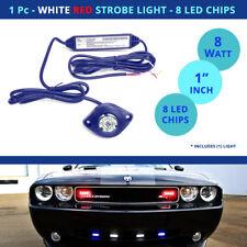 1 Pc - LED Strobe Light Hideaway - RED / WHITE Flash Car Truck - 8 Chip