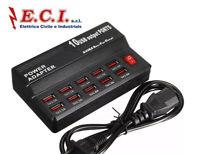 STAZIONE DI RICARICA 10 PORTE USB DA PARETE DA APPOGGIO