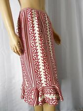 LAFAYETTE 148 NY Skirt size 6 beige red embroidery fishtail hem