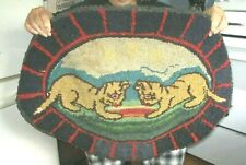 """ANTIQUE HAND HOOKED COUNTRY FARMHOUSE RUG 33 1/2"""" BY 25 1/2"""""""