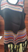 Black Sleeveless Knitted Poncho Cape with tassels & colorful knit border
