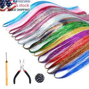 12 Colors 2400s Tinsel Hair Extensions Strands Kit with Tools Glitter for Women