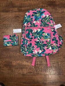 NWT VERA BRADLEY Campus Backpack Book Bag & Wallet - TROPICAL PARADISE Pink
