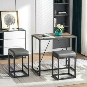 3 Piece Dining Set Space Saver Solid Simple Apartment and Kitchen Bistro Pub USA