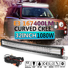 8D+ Quad-row 32inch 1080W CREE Curved LED Light Bar Offroad Driving VS 7D 3ROWS