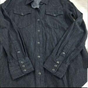Lauren Ralph Lauren Women Dark Wash Black Denim Pearl Snap Button Up Sz Large
