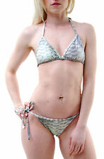 Wildfox Women's Scales Reversable Triangle Bikini Top Multi Green RRP £63 BCF65