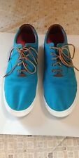 Mens Size 16 Polo Canvas shoe in turquoise with brown trim and laces.