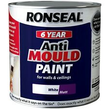 Ronseal 6 Year Anti Mould White Matt Paint for Walls and Ceilings 2.5 Litre