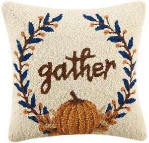 "Peking Handicraft - Gather 16"" Square Pillow - 31TG266C16SQ"