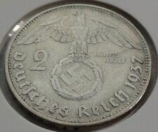 Germany 2 REICHSMARK SILVER MARK HINDENBURG SWASTIKA 1937 D Third Reich