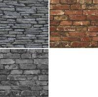 Fine Decor Rustic Brick Grey Slate Stone Wallpaper Panel 3D Effect Charcoal NEW
