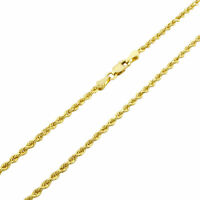 """Real 14k Yellow Gold 2.5mm Womens Diamond Cut Rope Chain Pendant Necklace- 18"""""""