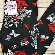 Butterfly Floral Print Leggings Red Black Pink Buttery Soft ONE SIZE OS