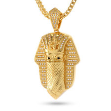 King Ice 14K Gold Cubic Zirconia Bandana Pharaoh Pendant & Necklace NKX0992 NWT