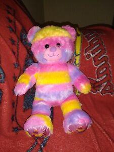 """Build A Bear Tye Dyed Rainbow Bear With Candy Feet Nose & Ears 16"""""""