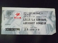 Tickets- 2001 UEFA Champions League- LOSC v DEPORTOVO, 10 Oct
