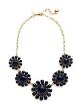 Kate Spade Glossy Garden Blue Necklace NWT Timeless Flower Chain! Glass Petals