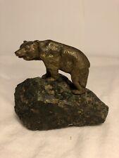Vintage Bronze Bear On A Rock 4'' inch