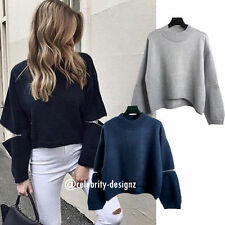 Cotton Blend Crewneck Solid Jumpers & Cardigans for Women