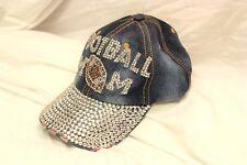 Bling FOOTBALL MOM Denim Blue Jean Distressed Cap Baseball Hat Rhinestone Faded