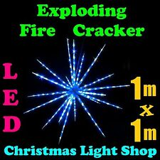 1m BLUE WHITE Flashing LED Meteor Exploding Fire Cracker Outdoor Christmas Light