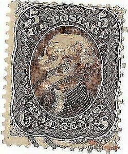 US Stamp. Jefferson. 5 Cent Brown. Scott#76.
