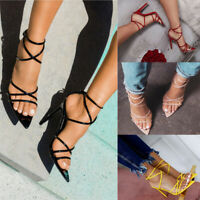 Womens Pointed Toe Strappy Stiletto High Heel Sandlas Ladies Party Slip On Shoes