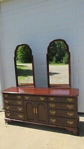 Ethan Allen Georgian Court Dresser Mirrors Set Cherry