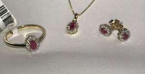 Ruby & Diamond Cluster Pendant and / or Ring or Earrings