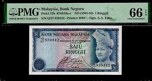 Malaysia 1 Ringgit 1981 - 83  PMG 66 EPQ  UNC  Pick # 13b