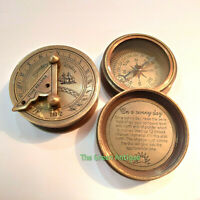 Antique Brass Mini Sundial Compass Nautical Maritime Collectible