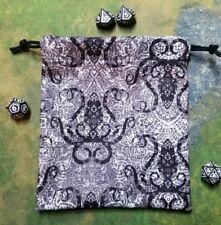 Ornate Black Octopus dice bag, card bag, makeup bag