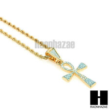 "ICED OUT ANKH SAND BLAST CROSS BLING PENDANT w/ 24"" ROPE CHAIN NECKLACE KN007"